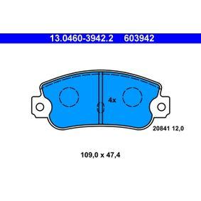 Bremsbelagsatz, Scheibenbremse Breite: 109,0mm, Höhe: 47,4mm, Dicke/Stärke: 12,0mm mit OEM-Nummer 793485