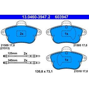 ATE  13.0460-3947.2 Bremsbelagsatz, Scheibenbremse Breite: 130,8mm, Höhe: 73,1mm, Dicke/Stärke: 17,0mm