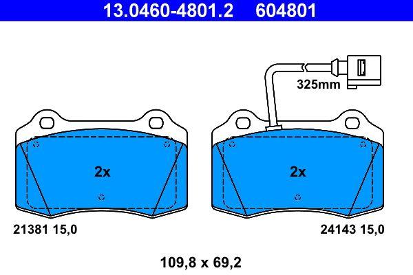 ATE  13.0460-4801.2 Bremsbelagsatz, Scheibenbremse Breite: 109,8mm, Höhe: 69,2mm, Dicke/Stärke: 15,0mm