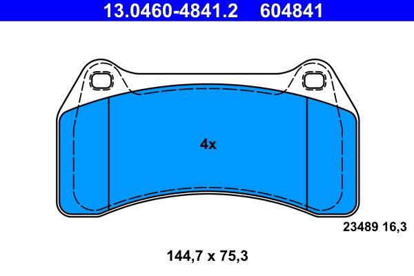 ATE  13.0460-4841.2 Bremsbelagsatz, Scheibenbremse Breite: 144,7mm, Höhe: 75,3mm, Dicke/Stärke: 16,3mm