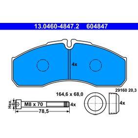 Bremsbelagsatz, Scheibenbremse Breite: 164,6mm, Höhe: 68,0mm, Dicke/Stärke: 20,3mm mit OEM-Nummer 50 01 844 748