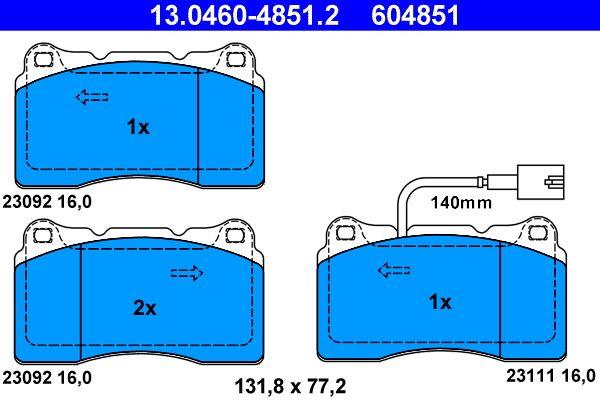 ATE  13.0460-4851.2 Bremsbelagsatz, Scheibenbremse Breite: 131,8mm, Höhe: 77,2mm, Dicke/Stärke: 16,0mm