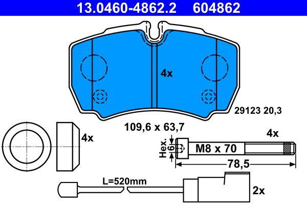 ATE  13.0460-4862.2 Bremsbelagsatz, Scheibenbremse Breite: 109,6mm, Höhe: 63,7mm, Dicke/Stärke: 20,3mm