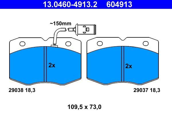 ATE  13.0460-4913.2 Bremsbelagsatz, Scheibenbremse Breite: 109,5mm, Höhe: 73,0mm, Dicke/Stärke: 18,3mm