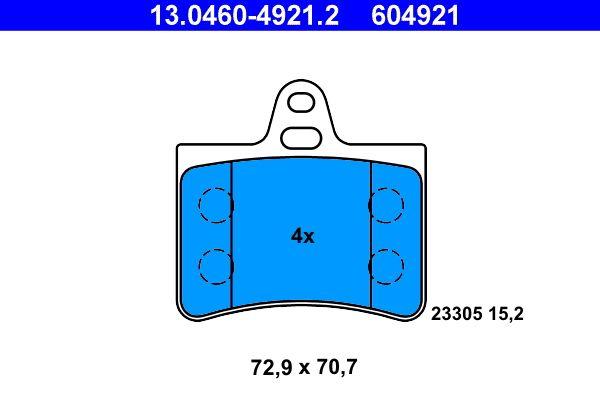 ATE  13.0460-4921.2 Bremsbelagsatz, Scheibenbremse Breite: 72,9mm, Höhe: 70,7mm, Dicke/Stärke: 15,2mm