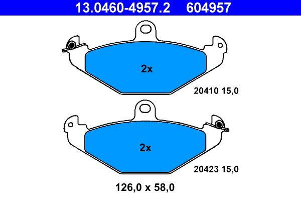 ATE  13.0460-4957.2 Bremsbelagsatz, Scheibenbremse Breite: 126,0mm, Höhe: 58,0mm, Dicke/Stärke: 15,0mm
