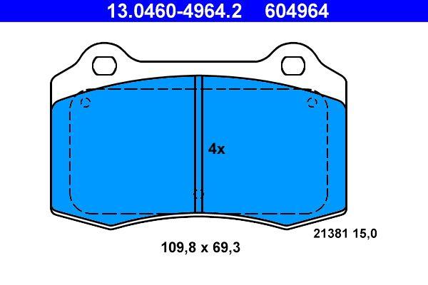 ATE  13.0460-4964.2 Bremsbelagsatz, Scheibenbremse Breite: 109,8mm, Höhe: 69,3mm, Dicke/Stärke: 15,0mm