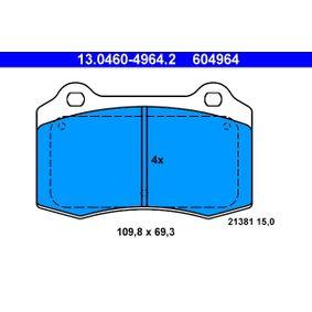 Bremsbelagsatz, Scheibenbremse Breite: 109,8mm, Höhe: 69,3mm, Dicke/Stärke: 15,0mm mit OEM-Nummer C2C8361