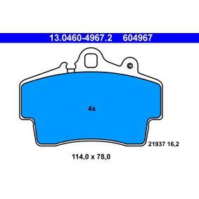 ATE  13.0460-4967.2 Bremsbelagsatz, Scheibenbremse Breite: 114,0mm, Höhe: 78,0mm, Dicke/Stärke: 16,2mm