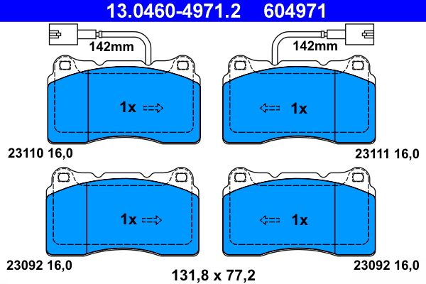 ATE  13.0460-4971.2 Bremsbelagsatz, Scheibenbremse Breite: 131,8mm, Höhe: 77,2mm, Dicke/Stärke: 16,0mm