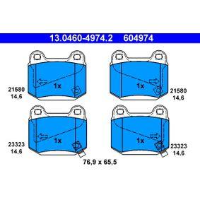 ATE  13.0460-4974.2 Bremsbelagsatz, Scheibenbremse Breite: 76,9mm, Höhe: 65,5mm, Dicke/Stärke: 14,6mm