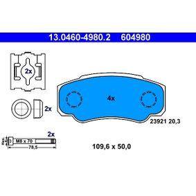 Bremsbelagsatz, Scheibenbremse Breite: 109,6mm, Höhe: 50,0mm, Dicke/Stärke: 20,3mm mit OEM-Nummer 4254 68