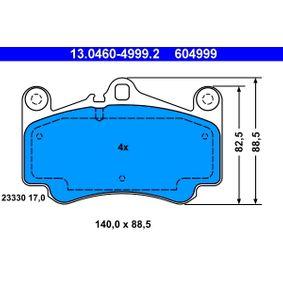 Bremsbelagsatz, Scheibenbremse Breite: 140,0mm, Höhe: 88,5mm, Dicke/Stärke: 17,0mm mit OEM-Nummer 99635194912