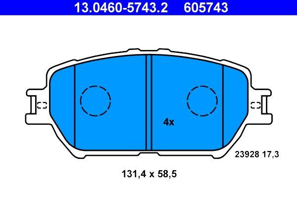 ATE  13.0460-5743.2 Bremsbelagsatz, Scheibenbremse Breite: 131,4mm, Höhe: 58,5mm, Dicke/Stärke: 17,3mm