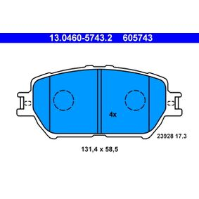 Bremsbelagsatz, Scheibenbremse Breite: 131,4mm, Höhe: 58,5mm, Dicke/Stärke: 17,3mm mit OEM-Nummer 04465-33250