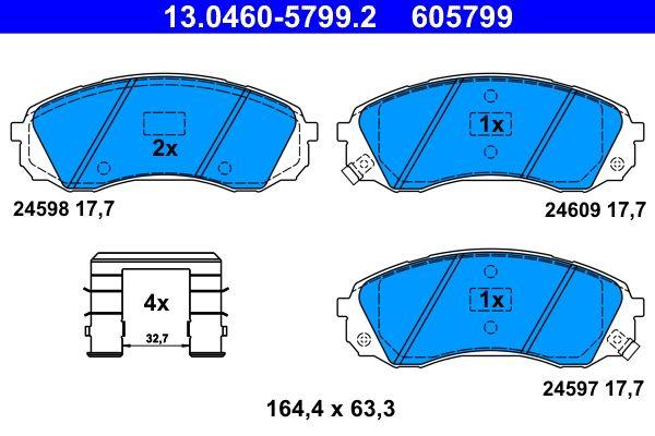 ATE  13.0460-5799.2 Bremsbelagsatz, Scheibenbremse Breite: 164,4mm, Höhe: 63,3mm, Dicke/Stärke: 17,7mm