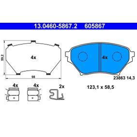 Bremsbelagsatz, Scheibenbremse Breite: 123,1mm, Höhe: 58,5mm, Dicke/Stärke: 14,3mm mit OEM-Nummer N0Y9 33 23Z
