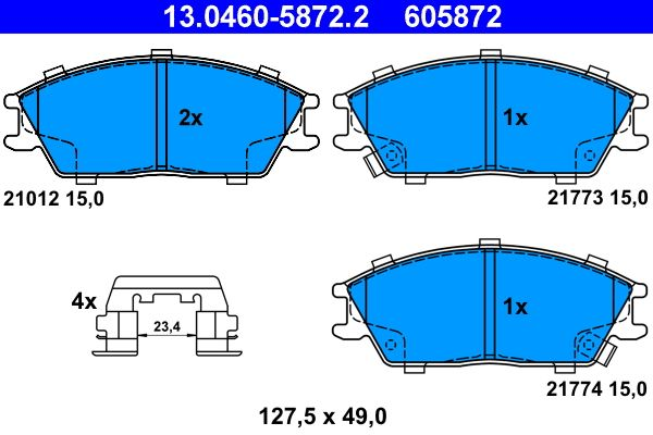 ATE  13.0460-5872.2 Bremsbelagsatz, Scheibenbremse Breite: 127,5mm, Höhe: 49,0mm, Dicke/Stärke: 15,0mm