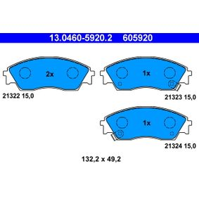 Brake Pad Set, disc brake Width: 132,2mm, Height: 49,2mm, Thickness: 15,0mm with OEM Number 45022-SK3-E00
