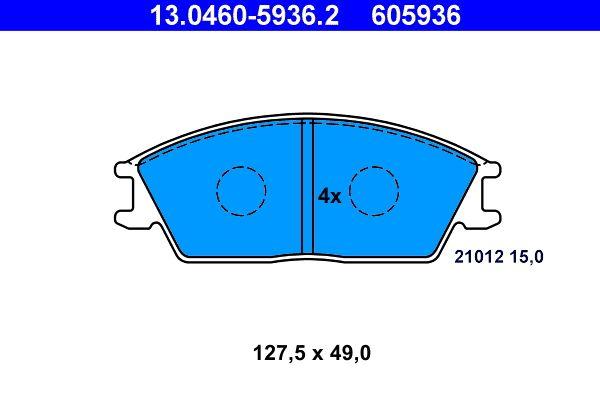 ATE  13.0460-5936.2 Bremsbelagsatz, Scheibenbremse Breite: 127,5mm, Höhe: 49,0mm, Dicke/Stärke: 15,0mm