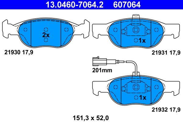 ATE  13.0460-7064.2 Bremsbelagsatz, Scheibenbremse Breite: 151,3mm, Höhe: 52,0mm, Dicke/Stärke: 17,9mm