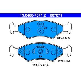 Bremsbelagsatz, Scheibenbremse Breite: 151,3mm, Höhe: 46,4mm, Dicke/Stärke: 17,5mm mit OEM-Nummer 1010503