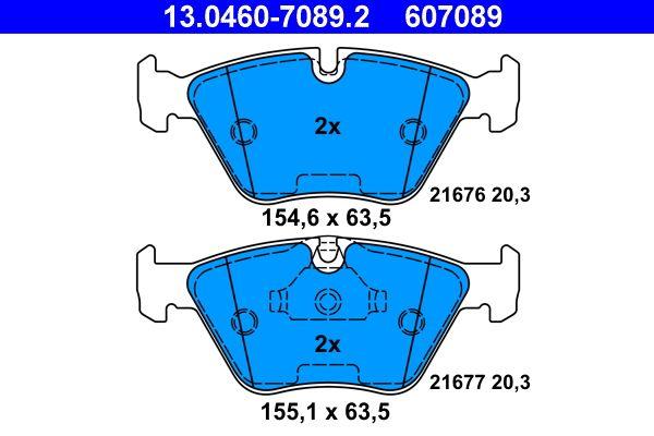 ATE  13.0460-7089.2 Bremsbelagsatz, Scheibenbremse Breite 1: 155,1mm, Breite 2: 154,6mm, Höhe 1: 63,5mm, Dicke/Stärke: 20,3mm