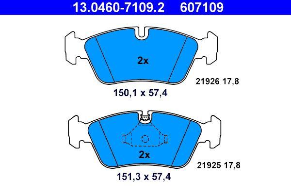 ATE  13.0460-7109.2 Bremsbelagsatz, Scheibenbremse Breite 1: 151,3mm, Breite 2: 150,1mm, Höhe: 57,4mm, Dicke/Stärke: 17,8mm