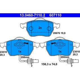 ATE Bremsbelagsatz, Scheibenbremse 13.0460-7110.2 für AUDI A4 (8E2, B6) 1.9 TDI ab Baujahr 11.2000, 130 PS
