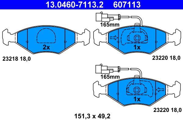 ATE  13.0460-7113.2 Bremsbelagsatz, Scheibenbremse Breite: 151,3mm, Höhe: 49,2mm, Dicke/Stärke: 18,0mm