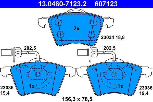 ATE  13.0460-7123.2 Bremsbelagsatz, Scheibenbremse Breite: 156,3mm, Höhe: 78,5mm, Dicke/Stärke 1: 18,8mm, Dicke/Stärke 2: 19,4mm