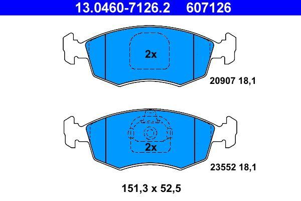 ATE  13.0460-7126.2 Bremsbelagsatz, Scheibenbremse Breite: 151,3mm, Höhe: 52,5mm, Dicke/Stärke: 18,1mm