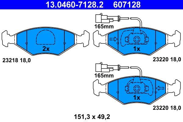 ATE  13.0460-7128.2 Bremsbelagsatz, Scheibenbremse Breite: 151,3mm, Höhe: 49,2mm, Dicke/Stärke: 18,0mm