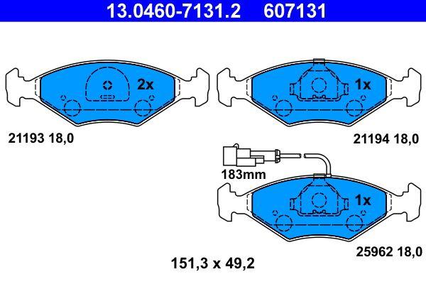 ATE  13.0460-7131.2 Bremsbelagsatz, Scheibenbremse Breite: 151,3mm, Höhe: 49,2mm, Dicke/Stärke: 18,0mm