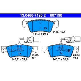 ATE  13.0460-7190.2 Bremsbelagsatz, Scheibenbremse Breite 1: 141,3mm, Breite 2: 140,7mm, Höhe 1: 50,9mm, Höhe 2: 53,9mm, Dicke/Stärke: 19,1mm