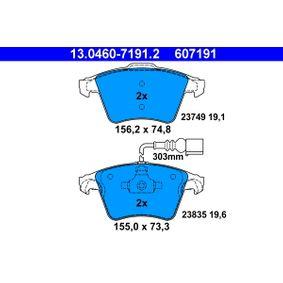 Brake Pad Set, disc brake Width 1: 156,2mm, Width 2 [mm]: 155,0mm, Height 1: 74,8mm, Height 2: 73,3mm, Thickness 1: 19,1mm, Thickness 2: 19,6mm with OEM Number 7L6698151F