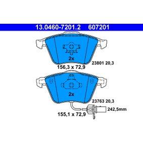 ATE Bremsbelagsatz, Scheibenbremse 13.0460-7201.2 für AUDI A4 Cabriolet (8H7, B6, 8HE, B7) 3.2 FSI ab Baujahr 01.2006, 255 PS