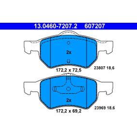 Bremsbelagsatz, Scheibenbremse Breite 2: 172,2mm, Höhe 1: 69,2mm, Höhe 2: 72,5mm, Dicke/Stärke: 18,6mm mit OEM-Nummer 5015365AA