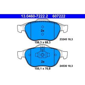ATE  13.0460-7222.2 Bremsbelagsatz, Scheibenbremse Breite 1: 155,1mm, Breite 2: 156,3mm, Höhe 1: 70,8mm, Höhe 2: 68,3mm, Dicke/Stärke: 18,3mm