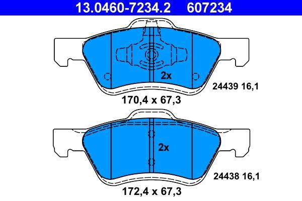ATE  13.0460-7234.2 Bremsbelagsatz, Scheibenbremse Breite 1: 170,4mm, Breite 2: 172,4mm, Höhe 1: 67,3mm, Höhe 2: 67,3mm, Dicke/Stärke: 16,1mm
