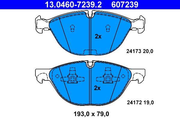 ATE  13.0460-7239.2 Bremsbelagsatz, Scheibenbremse Breite 1: 193,0mm, Breite 2: 193,0mm, Höhe 1: 79,0mm, Höhe 2: 79,0mm, Dicke/Stärke 1: 19,0mm, Dicke/Stärke 2: 20,0mm