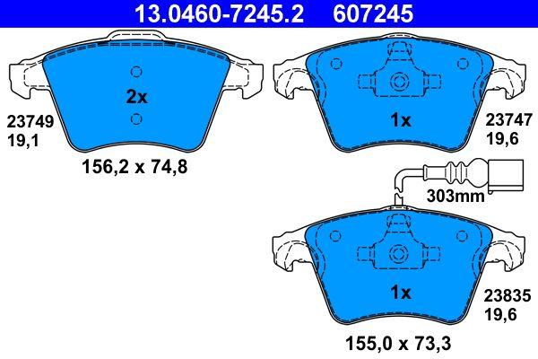 ATE  13.0460-7245.2 Bremsbelagsatz, Scheibenbremse Breite 1: 155,0mm, Breite 2: 156,2mm, Höhe 1: 73,3mm, Höhe 2: 74,8mm, Dicke/Stärke 1: 19,6mm, Dicke/Stärke 2: 19,1mm