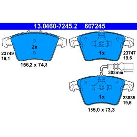 Brake Pad Set, disc brake Width 1: 155,0mm, Width 2 [mm]: 156,2mm, Height 1: 73,3mm, Height 2: 74,8mm, Thickness 1: 19,6mm, Thickness 2: 19,1mm with OEM Number 7L6 698 151F