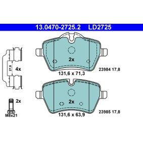 Bremsbelagsatz, Scheibenbremse Breite: 131,6mm, Höhe 1: 71,3mm, Höhe 2: 63,9mm, Dicke/Stärke: 17,8mm mit OEM-Nummer 34116778320
