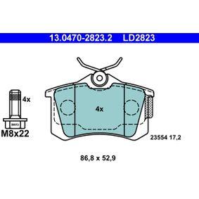 Bremsbelagsatz, Scheibenbremse Breite: 86,8mm, Höhe: 52,9mm, Dicke/Stärke: 17,2mm mit OEM-Nummer E 172 204