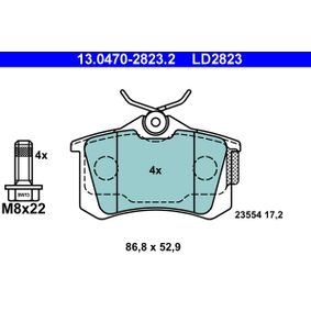 Bremsbelagsatz, Scheibenbremse Breite: 86,8mm, Höhe: 52,9mm, Dicke/Stärke: 17,2mm mit OEM-Nummer 4254-67