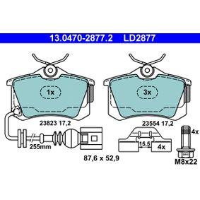 ATE Ceramic 13.0470-2877.2 Bremsbelagsatz, Scheibenbremse Breite: 87,6mm, Höhe: 52,9mm, Dicke/Stärke: 17,2mm