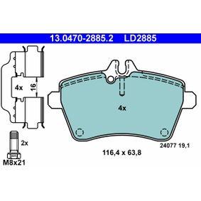 Bremsbelagsatz, Scheibenbremse Breite: 116,4mm, Höhe: 63,8mm, Dicke/Stärke: 19,1mm mit OEM-Nummer 169 420 1820