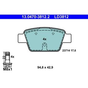 Cuerpo de Mariposa FIAT STILO (192) 1.6 16V (192_XB1A) de Año 10.2001 103 CV: Juego de pastillas de freno (13.0470-3812.2) para de ATE
