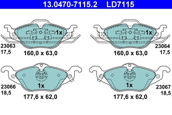 ATE Ceramic 13.0470-7115.2 Juego de pastillas de freno Ancho 1: 160,0mm, Ancho 2: 177,6mm, Altura 1: 63,0mm, altura 2: 62,0mm, Espesor 1: 17,5mm, Espesor 2: 18,5mm